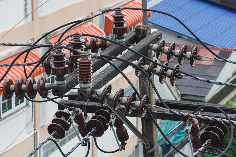 Detailed image of electrical insulator royalty free stock photos