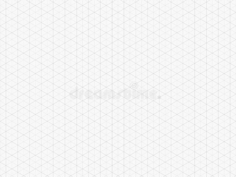 Detailed Isometric Grid. High Quality Triangle Graph Paper. Seamless Pattern. Vector Grid Template. Real Size stock illustration