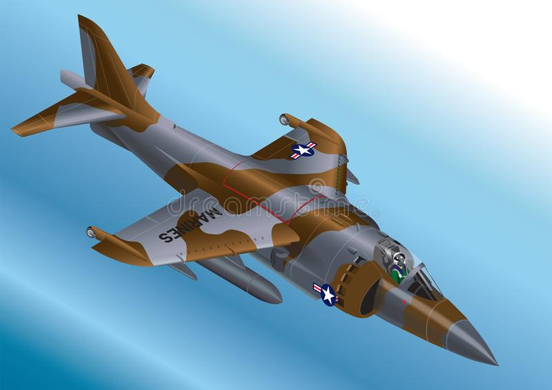 Detailed Isometric Vector Illustration of a US Marine Corp AV-8A / AV-8B Vertical Take Off Jet Fighter stock illustration