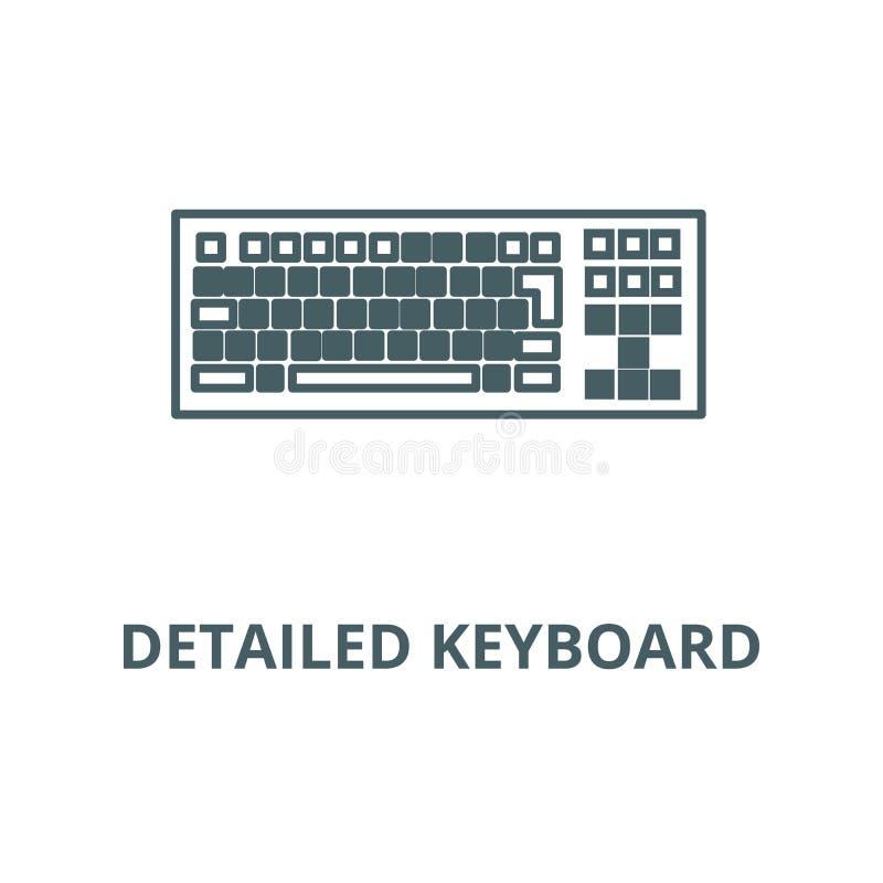 Detailed keyboard line icon, vector. Detailed keyboard outline sign, concept symbol, flat illustration royalty free illustration