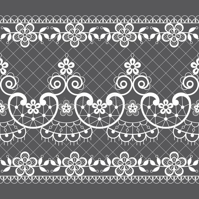 Seamless lace vector pattern - retro weddin style, ornamental repetitive design with flowers and swirls in white on gray backgroun royalty free illustration