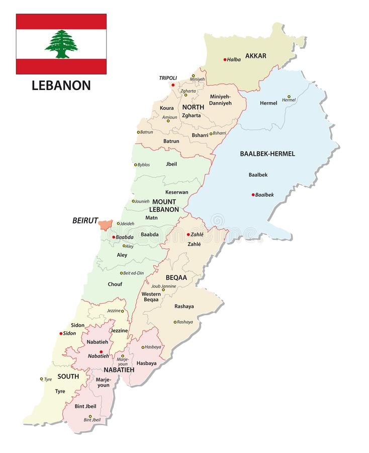 Detailed Lebanon Administrative And Political Vector Map With Flag