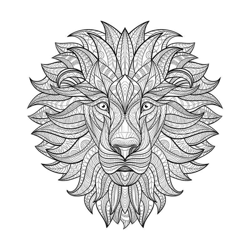 Detailed Lion in aztec style stock illustration