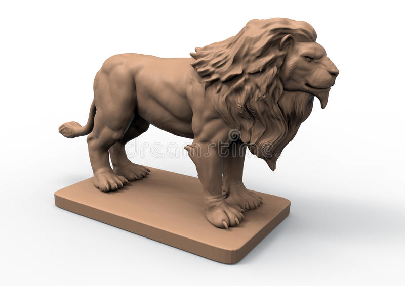 Detailed lion statue stock illustration