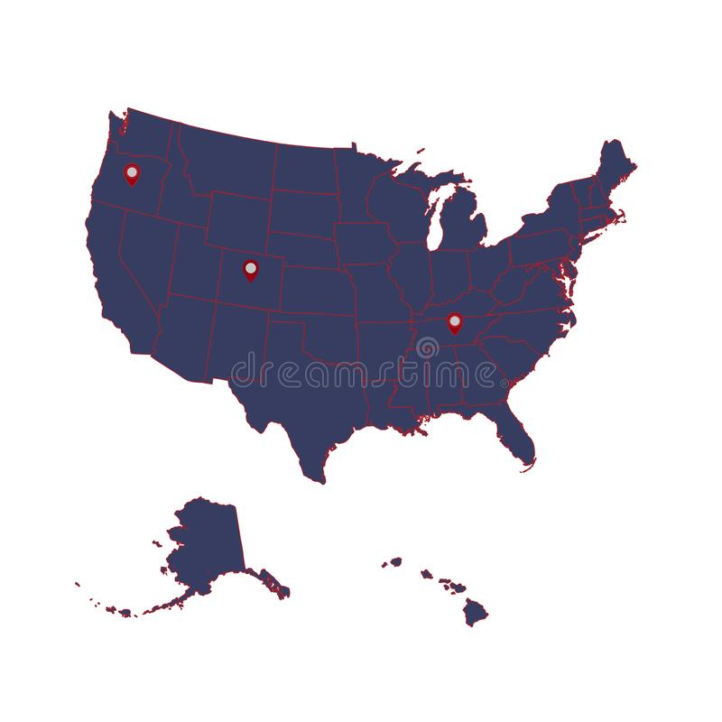 Detailed map of the American continent and the USA including Alaska and Hawaii. Vector illustration royalty free illustration