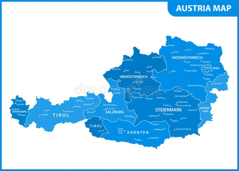 The detailed map of the Austria with regions or states and cities, capital vector illustration