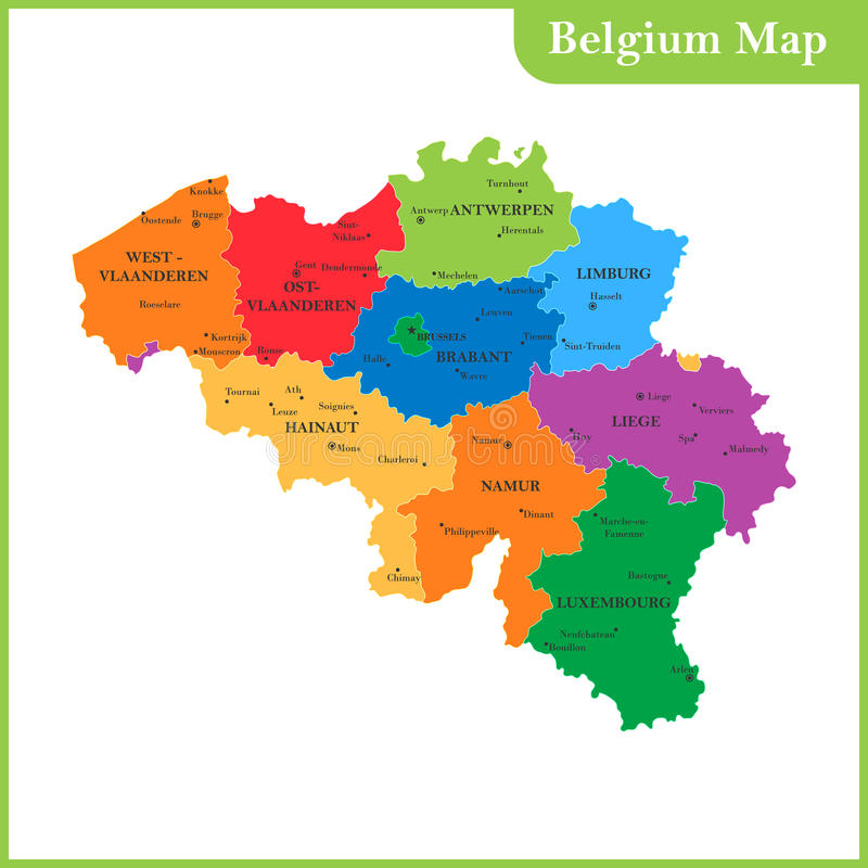 download the detailed map of the belgium with regions or states and cities stock vector