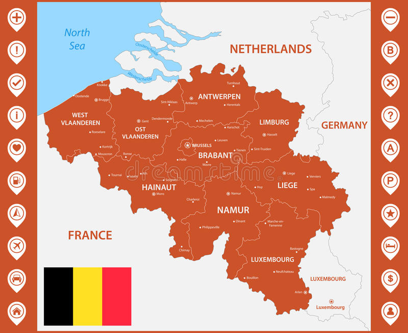 download the detailed map of the belgium with regions or states and cities capitals