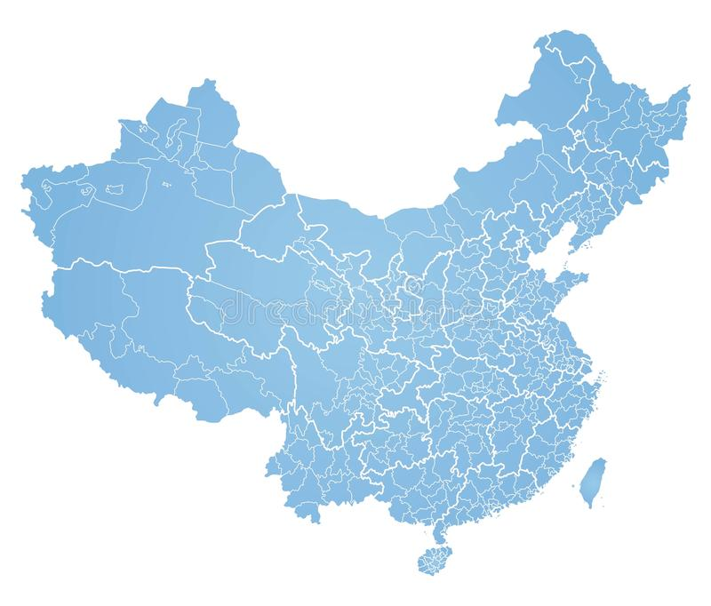 Map of China. Detailed map China on white background stock illustration