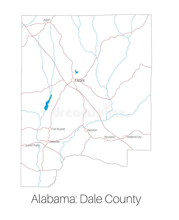 Map of Dale county in Alabama. Detailed map of Dale county in Alabama, USA stock illustration