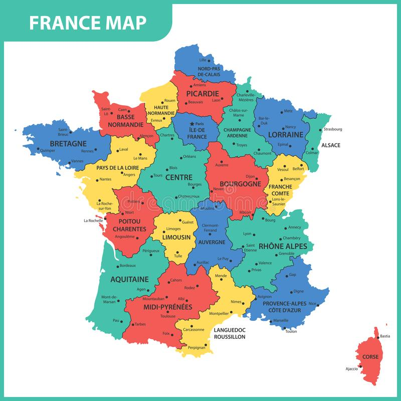 The detailed map of the France with regions or states and cities, capital.  stock illustration
