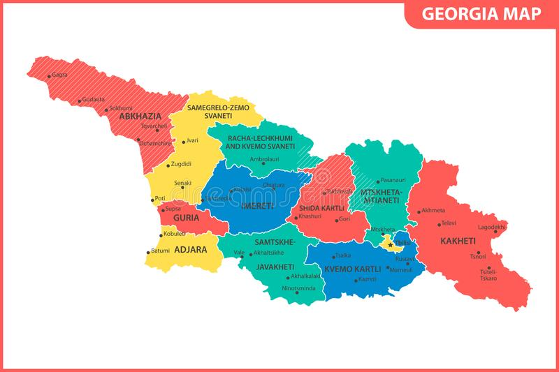 The detailed map of the Georgia with regions or states and cities, capital. Administrative division. South Ossetia and Abkhazia ar. E marked as a disputed vector illustration
