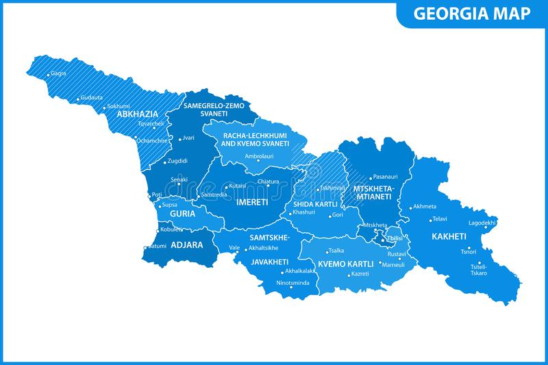 The detailed map of the Georgia with regions or states and cities, capital. Administrative division. South Ossetia and Abkhazia ar. E marked as a disputed royalty free illustration