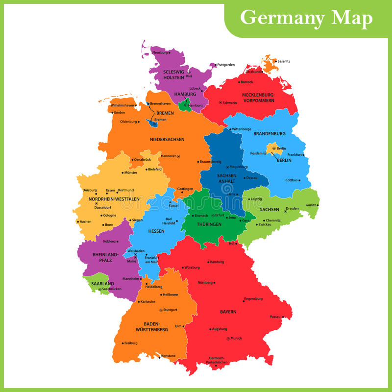 download the detailed map of the germany with regions or states and cities capitals stock