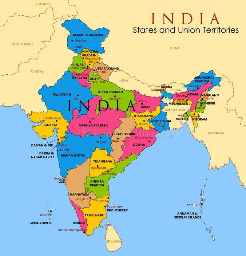 Detailed Map Of India, Asia With All States And Country Boundary ...