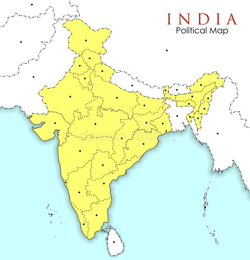 Detailed Map Of India Asia With All States And Country Boundary
