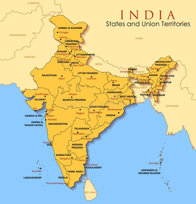 Detailed map of India, Asia with all states and country boundary. Illustration of detailed map of India, Asia with all states and country boundary vector illustration