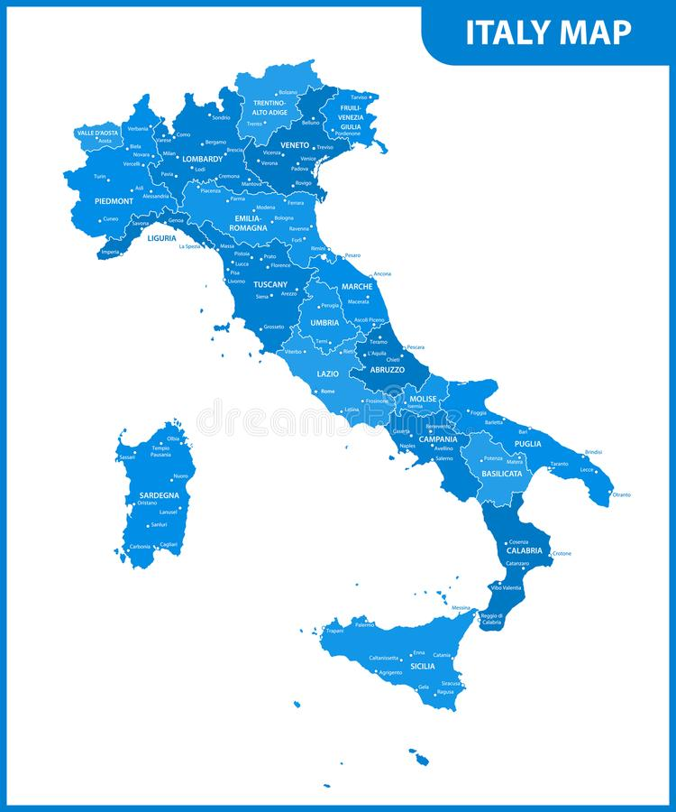 The detailed map of the Italy with regions or states and cities, capital.  vector illustration