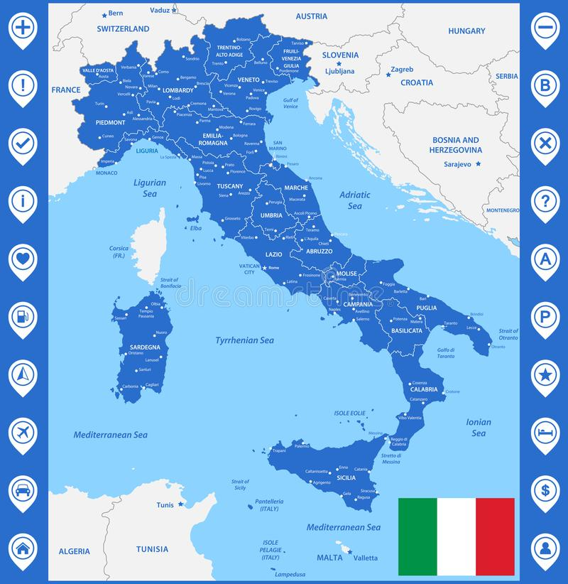 The detailed map of the Italy with regions or states and cities, capital. With sea objects and islands. And parts of neighboring c. Ountries. Italian National royalty free illustration