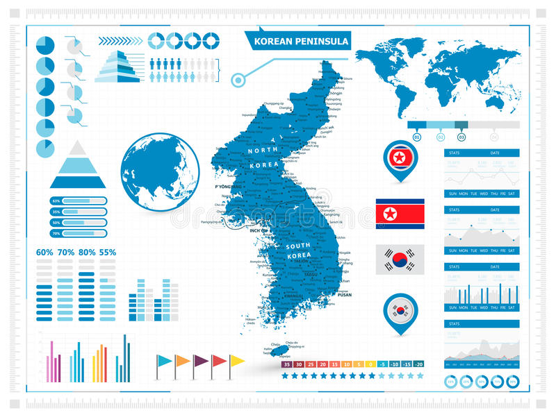 Detailed map of korean peninsula with infograpchic elements stock download detailed map of korean peninsula with infograpchic elements stock vector illustration of korea gumiabroncs Gallery
