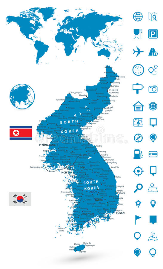 Detailed map of korean peninsula with world map navigation set stock download detailed map of korean peninsula with world map navigation set stock vector illustration of gumiabroncs Gallery