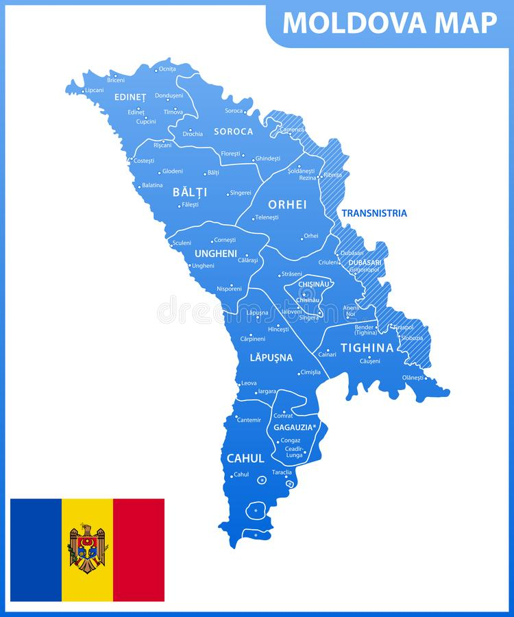 The detailed map of the Moldova with regions or states and cities, capital. Administrative division. Transnistria is marked as a d. Isputed territory royalty free illustration