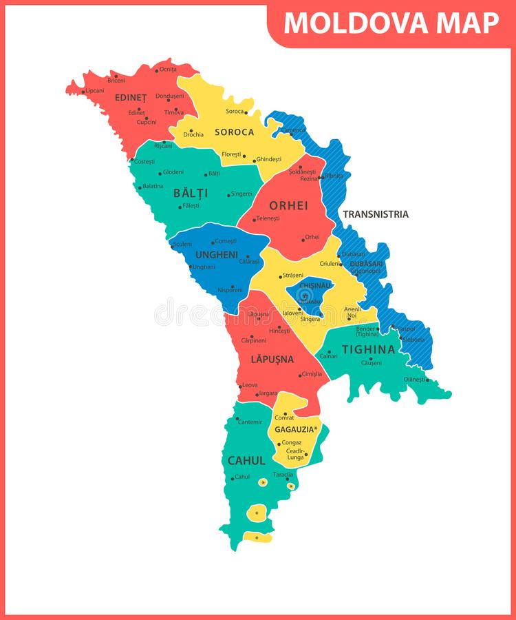 The detailed map of the Moldova with regions or states and cities, capital. Administrative division. Transnistria is marked as a d. Isputed territory vector illustration