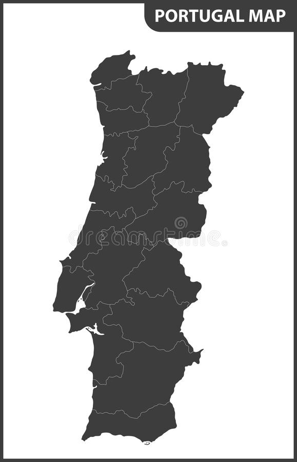 The detailed map of the Portugal with regions.  royalty free illustration