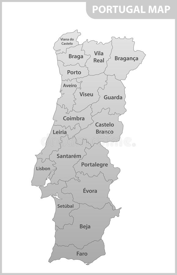 The detailed map of the Portugal with regions or states.  vector illustration
