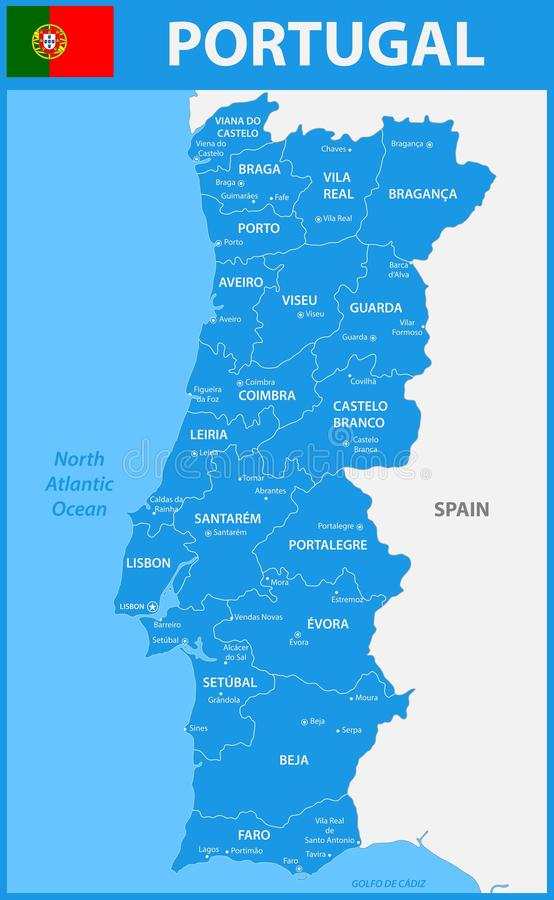 The detailed map of Portugal with regions or states and cities, capitals. The detailed map of Portugal with regions or states and cities, capitals royalty free illustration