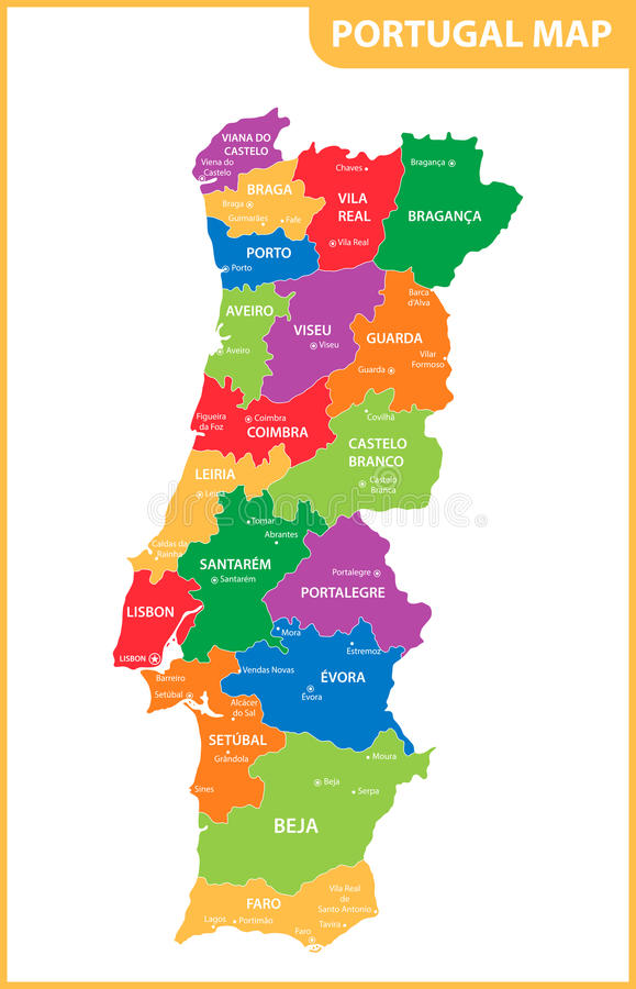 The detailed map of the Portugal with regions or states and cities, capitals.  stock illustration