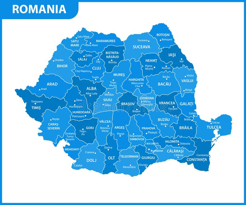 The detailed map of the Romania with regions or states and cities, capital. Administrative division. The detailed map of the Romania with regions or states and stock illustration
