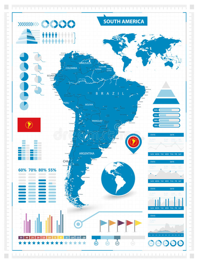Detailed map of south america with infograpchic elements stock download detailed map of south america with infograpchic elements stock vector illustration of blue sciox Choice Image