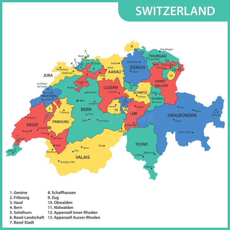 The detailed map of the Switzerland with regions or states and cities, capitals.  stock illustration