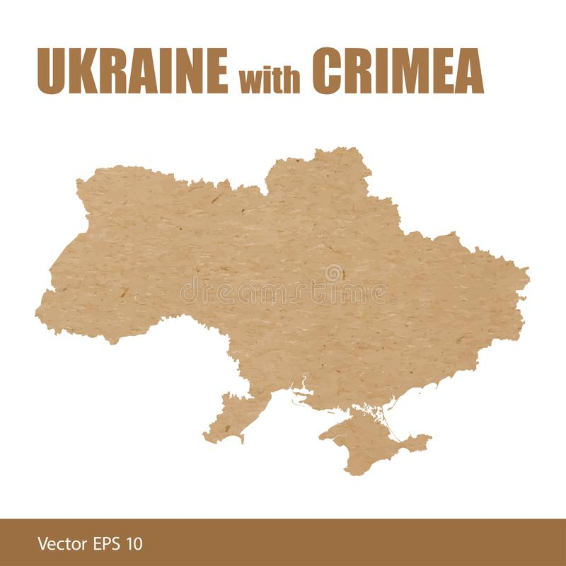 Detailed map of Ukraine with Crimea cut out of craft paper royalty free illustration
