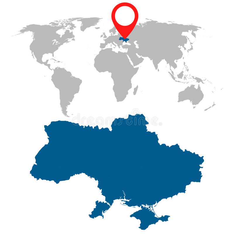 Detailed map of Ukraine and World map navigation set. Flat vector illustration. stock illustration