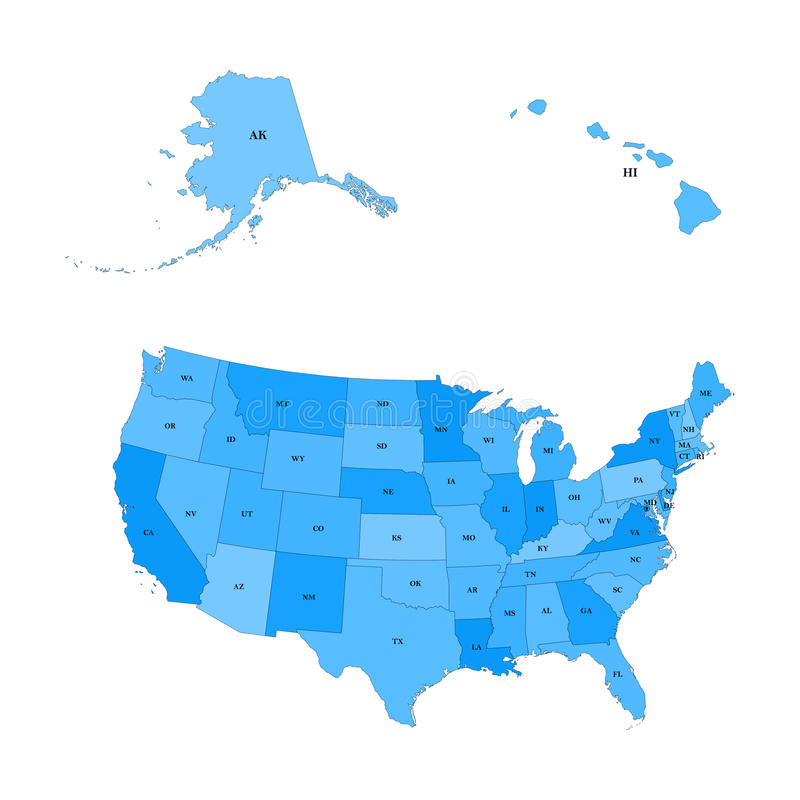 Detailed map of the United States, including Alaska and Hawaii. stock illustration