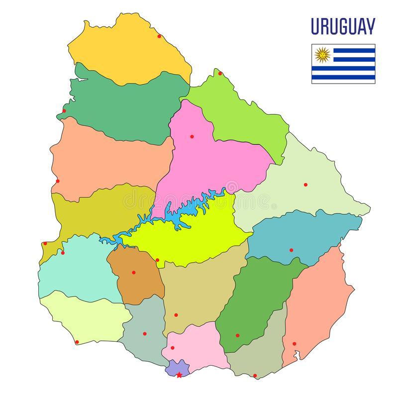 Detailed map of Uruguay with regions. High detailed political map of Uruguay with regions and their capitals. Vector illustration eps 10 stock illustration