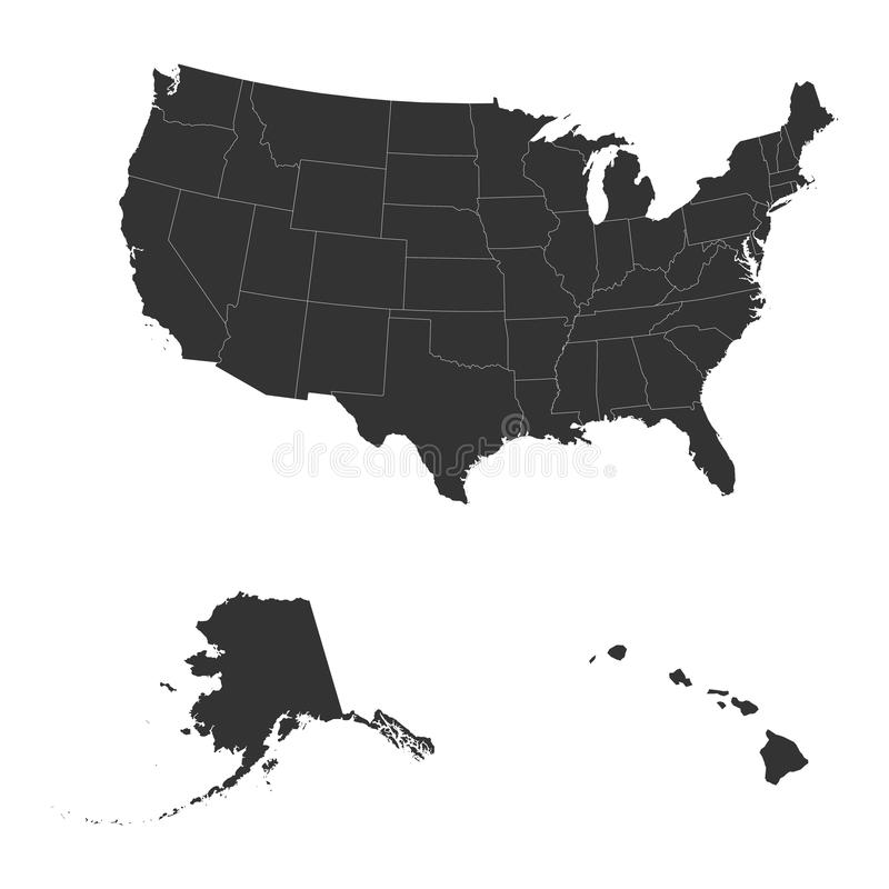 The detailed map of the USA including Alaska and Hawaii. royalty free illustration