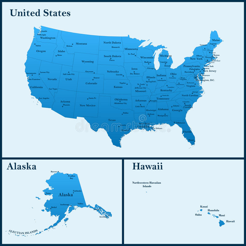 The detailed map of the USA including Alaska and Hawaii. The United States of America with the capitals and the biggest cities vector illustration