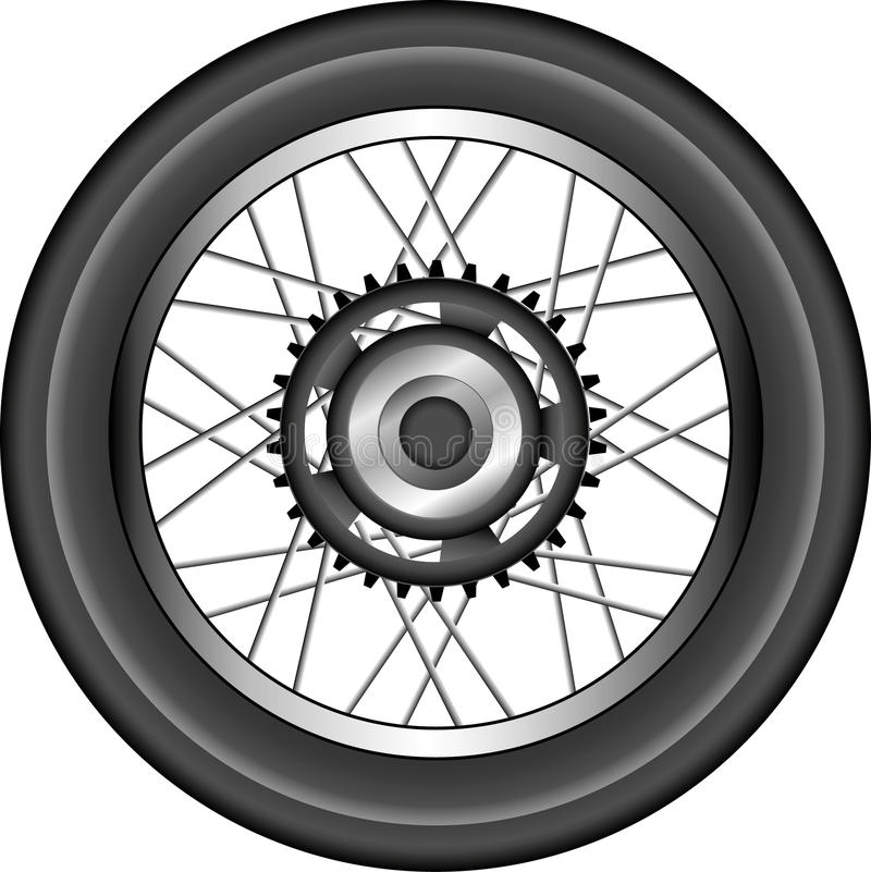 Detailed motorcycle wheel illustration royalty free stock photos