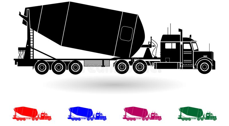Detailed multi color cement truck illustration. On white background stock illustration