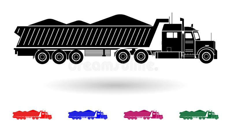 Detailed multi color sand transporting truck illustration stock illustration