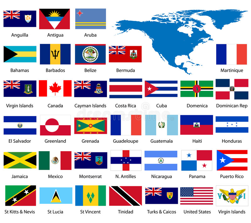 Detailed North American flags vector illustration