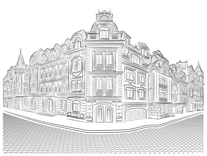 Detailed old buildings on the street corner royalty free stock image