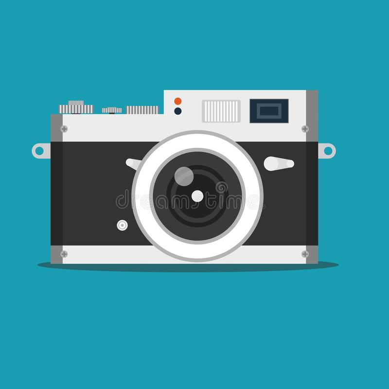 Detailed old vintage camera isolated over blue background royalty free illustration