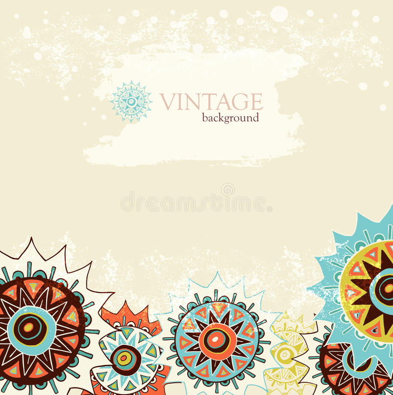Detailed ornament background with colorful circles stock illustration