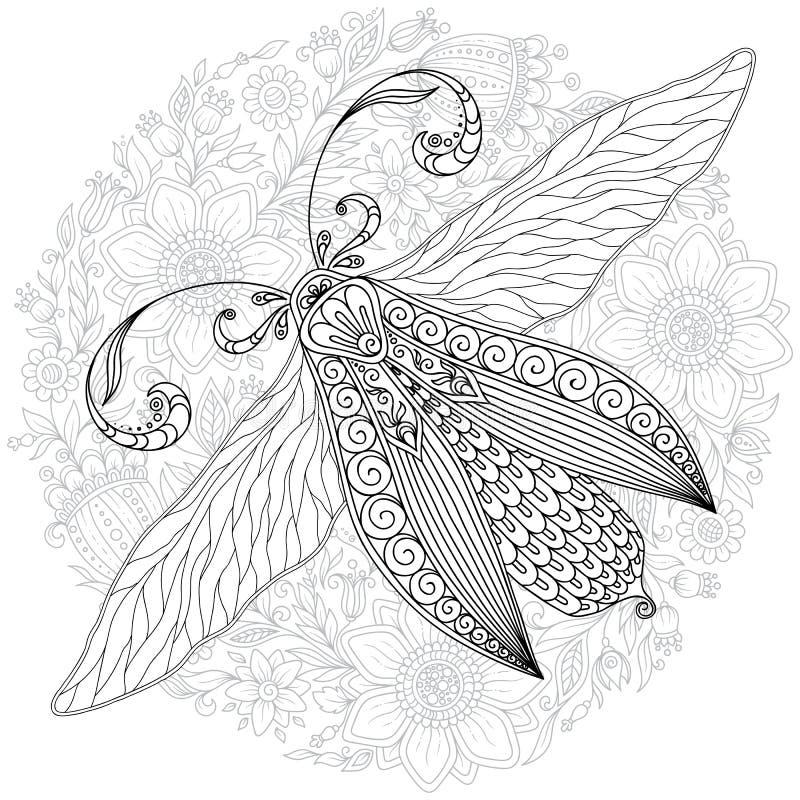 Detailed ornamental sketch of a moth stock illustration