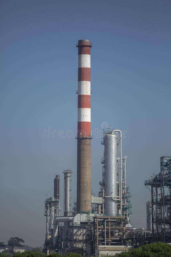 Detailed part view, industrial complex of oil refinery royalty free stock photo