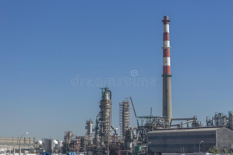 Detailed part view, industrial complex of oil refinery stock images
